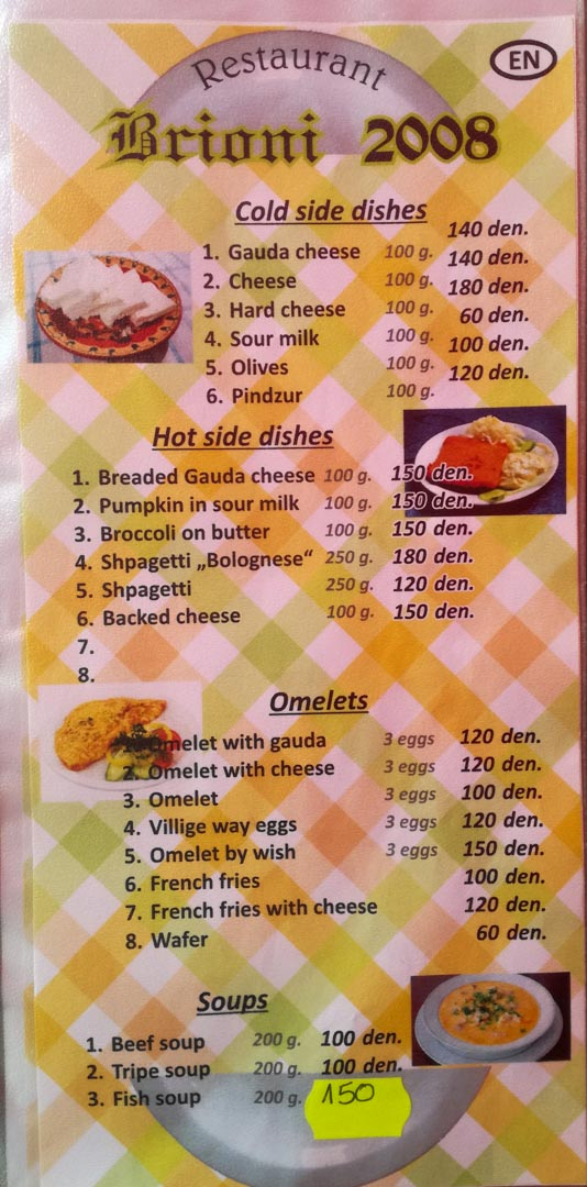 Side Dishes, Omlets & Soup